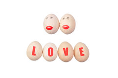 LOVER EGG. Egg with love on white background Royalty Free Stock Photo