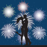 Lover and fireworks Stock Image