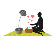 Lover Fitness. Man and barbell On picnic. Basket and picnic blan Royalty Free Stock Photo
