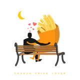Lover french fries. Fastfood and people are looking at moon. Dat. E night. Man and a meal sitting on bench. Month in night dark sky. Romantic illustration meal Royalty Free Stock Image