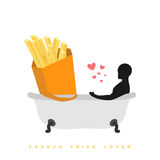 Lover french fries. I love food. Fastfood and man in bath. Man a Royalty Free Stock Image