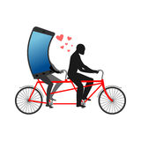 Lover of gadgets. Man and smartphone on bicycle. Riding on tande Stock Image