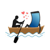 Lover of gadgets. Man and smartphone Ride in boat. Always togeth Royalty Free Stock Photography