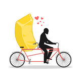 Lover gold. Golden bullion on bicycle. Lovers of cycling. Man ro Royalty Free Stock Image