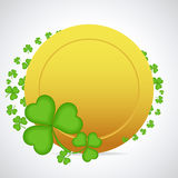 Ð¡lover and golden coin. St. Patrick's Day frame with clover and golden coin stock illustration