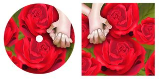 Lover Hands on Red Roses CD and DVD Template Stock Photos