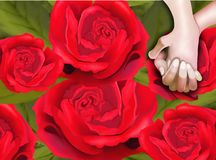 Lover Hands on Red Roses Pattern Background Royalty Free Stock Images