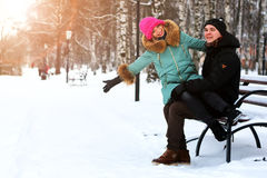 Lover heterosexuals on a date in the winter Stock Photos