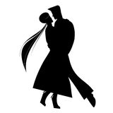 Lover Holding Each Other In Silhouette Royalty Free Stock Photography
