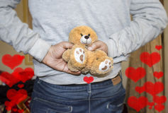 Lover holding valentine gift Stock Photography