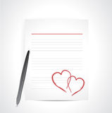 Lover letter and pen. illustration design Royalty Free Stock Photography