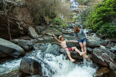 The lover at Mae Ya Waterwall, Inthanon National Park, Chiangmai Stock Photography