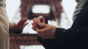 Lover making marriage proposal to his beloved girl on background of Eiffel Tower. Stock footage stock video