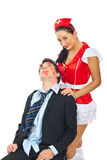 Lover man with naughty nurse Stock Photo