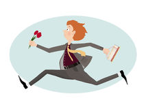 Lover man rush to first date with flowers and cake. Valentine day. Illustration Royalty Free Stock Photos
