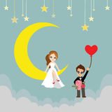 Lover on a moon cartoon vector. Royalty Free Stock Images