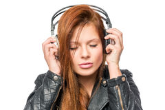 Lover of music enjoying the melody with headphones Royalty Free Stock Photo