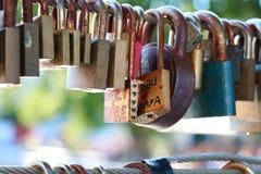 Lover padlock. Padlocks on bridge from lovers Royalty Free Stock Photo