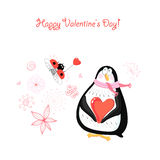 Lover penguin Postcards and ladybird Royalty Free Stock Image