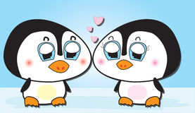 Lover penguins vector illustration