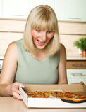 Lover of pizza Stock Photography