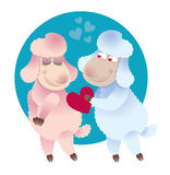 Lover ram gives his heart lamb Stock Images
