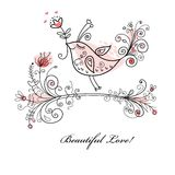 Lover's Card with a bird and flowers Royalty Free Stock Images