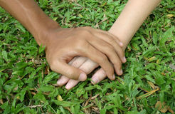 Lover's hands. Two people are holding hands stock images
