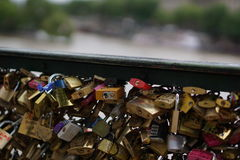 Lover's Locks. On a bridge, Paris, France Royalty Free Stock Photography