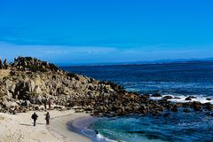 Lover`s Point. Pacific Grove, California - USA; February 20, 2018; Located between Monterey and Pebble Beach, visitors to Pacific Grove enjoy  stunning sea views Royalty Free Stock Photos