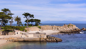 Lover`s Point Park. Monterey, CA USA - March 7th, 2017. Lover`s Point Park offers many options like relaxing on the sand, swimming, water sports, etc Royalty Free Stock Photography