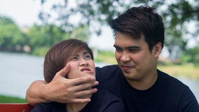 Lover`s teasing each other for pre wedding shooting. S Stock Photography