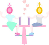 Lover on Seesaw Vector Illustration Stock Photo