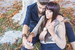Lover selfies Royalty Free Stock Photography