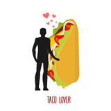 Lover taco. Love to Mexican food. Man and fastfood. Lovers holdi Royalty Free Stock Image