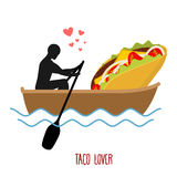 Lover taco. Man and fastfood and ride in boat. Lovers of sailing. Man rolls Mexican food on gondola. Appointment of food in boat on pond. Romantic illustration Royalty Free Stock Photos