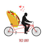Lover taco. Mexican food on bicycle. Lovers of cycling. vector illustration