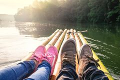 Lover traveling by boat royalty free stock photos