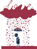 Lover under the rain. Lover that is dreaming his love under the rain Royalty Free Stock Image