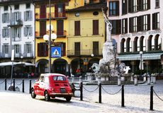 LOVERE, ITALY, 22 OCTOBER, 2018: The Square - Piazza 13 Martiri - one of the most beautiful of the Lombardy lake squares. The stone fountain of Piazza XIII stock photography