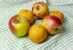 Loverly apples and oranges. View of fully ripe apples and oranges on a plain background stock images