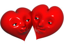 Lovers. Two red hearts in Love Stock Images