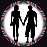 Lovers. Two young romantic lovers in silhouette walk into a bright light tunnel, vector vector illustration