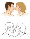 Lovers. Couple of lovers on a white background stock illustration