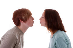 Lovers. A young couple wants to kiss stock images