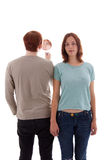 Lovers. A young man looks into a mirror royalty free stock image