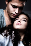 Lovers. Young beautiful love couple, close up, studio shot Royalty Free Stock Photos