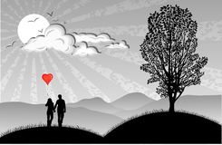 Lovers. With hearts balloon on nature background Royalty Free Stock Photo