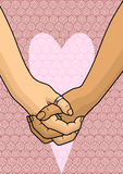 Lovers. Illustration with two hands of lovers, holding each other Royalty Free Stock Image