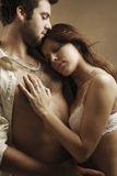 Lovers. A embracing couple in underwear Stock Photo